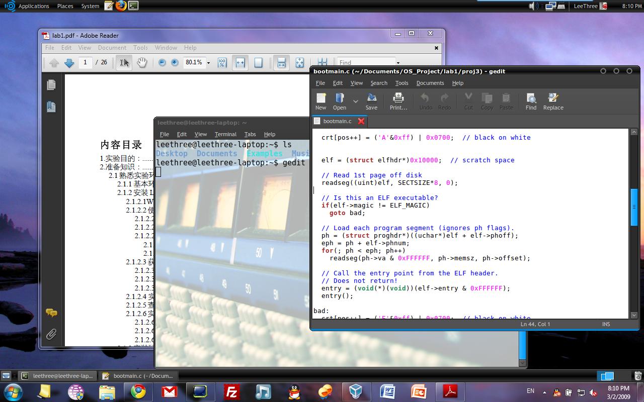 Windows 7 + VirturalBox + Ubuntu 8.10 (Seamless Mode)